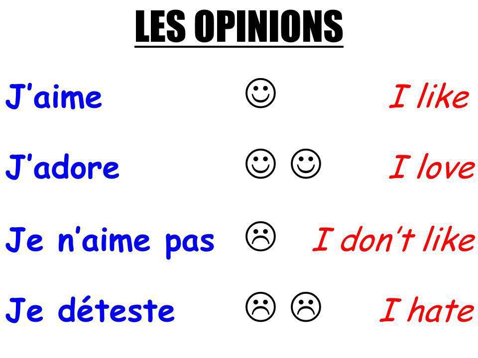 LES OPINIONS J'aime  I like J'adore   I love