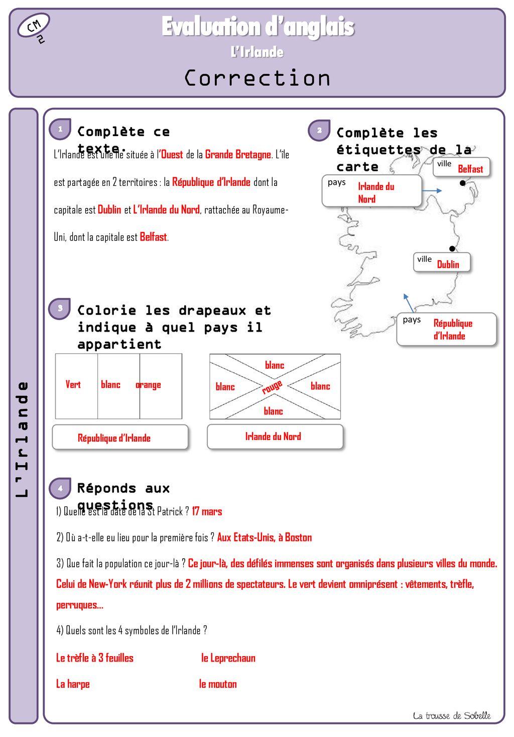 Coloriage Magique Anglais Vetements.D Anglais Evaluation Evaluees Evaluation Competences L Irlande D
