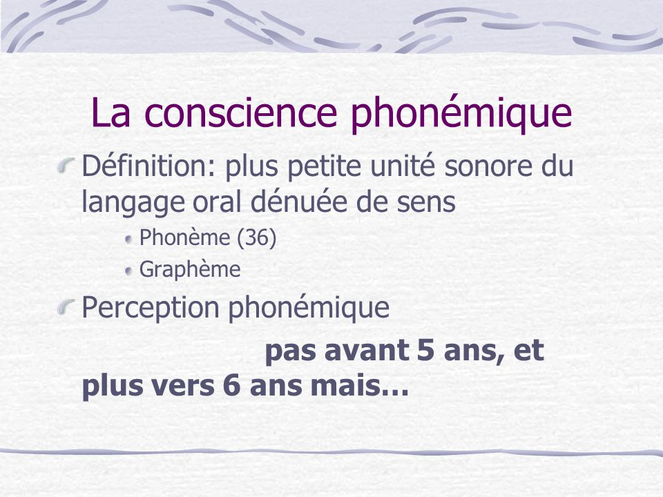 La conscience phonémique