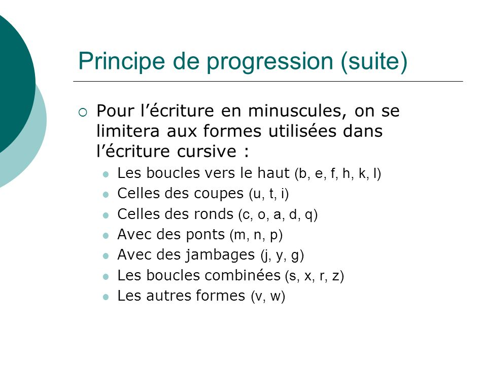 Principe de progression (suite)