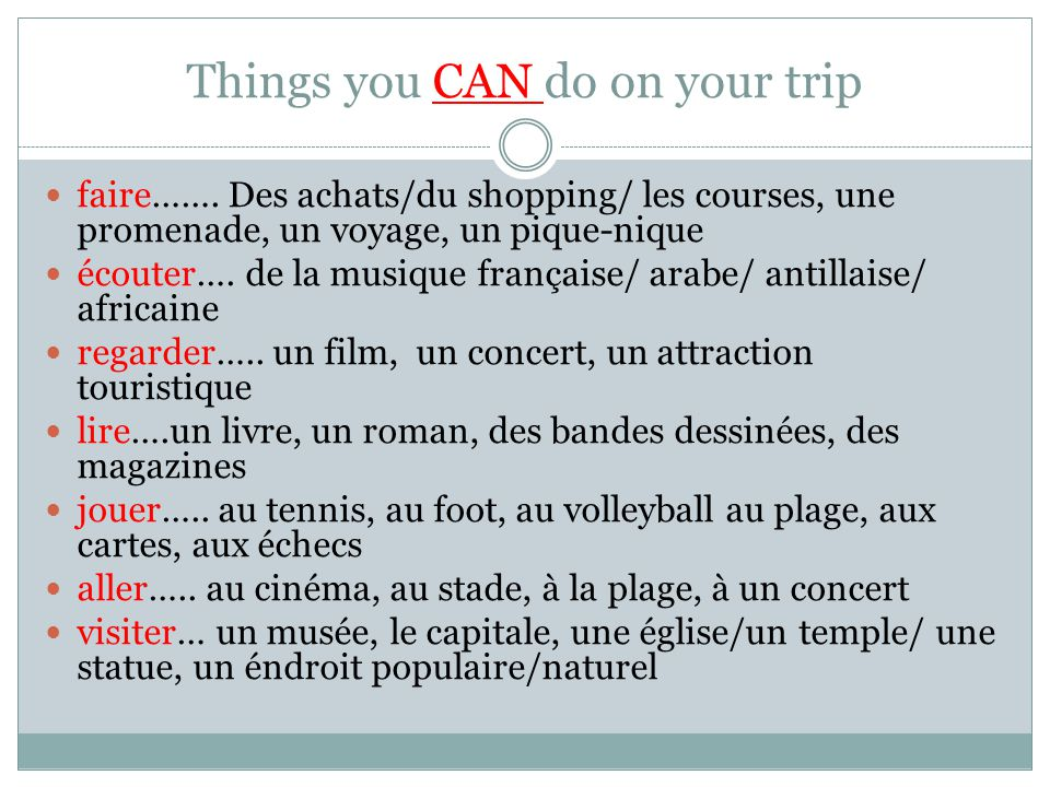 Things you CAN do on your trip