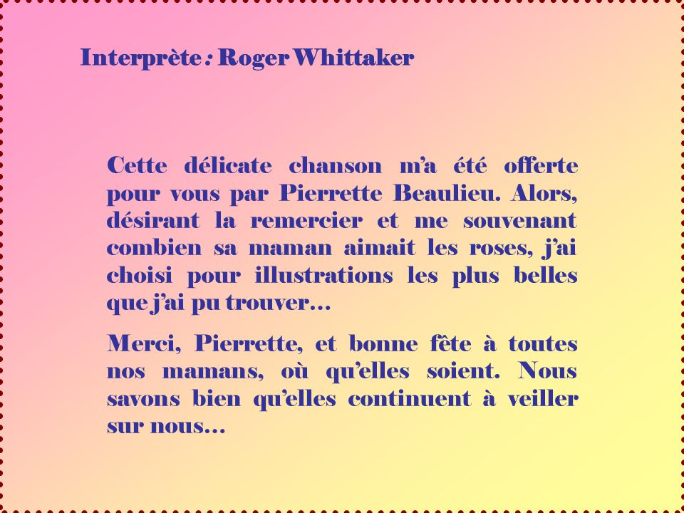 Interprète : Roger Whittaker