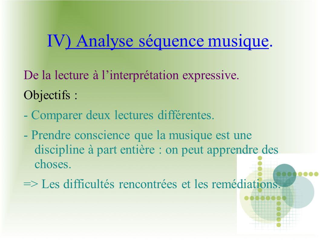IV) Analyse séquence musique.