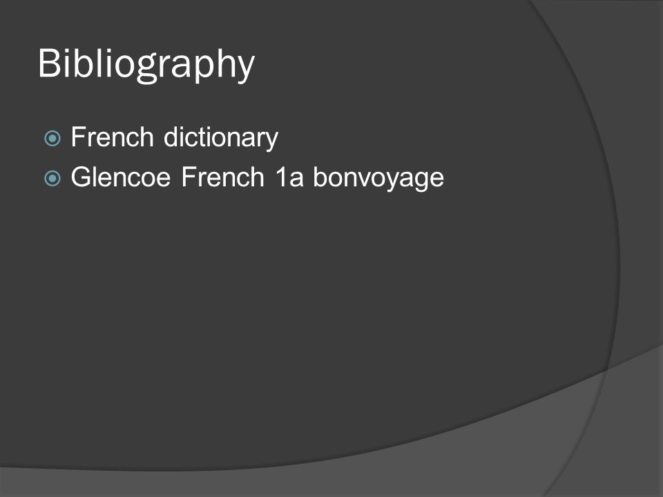 Bibliography French dictionary Glencoe French 1a bonvoyage