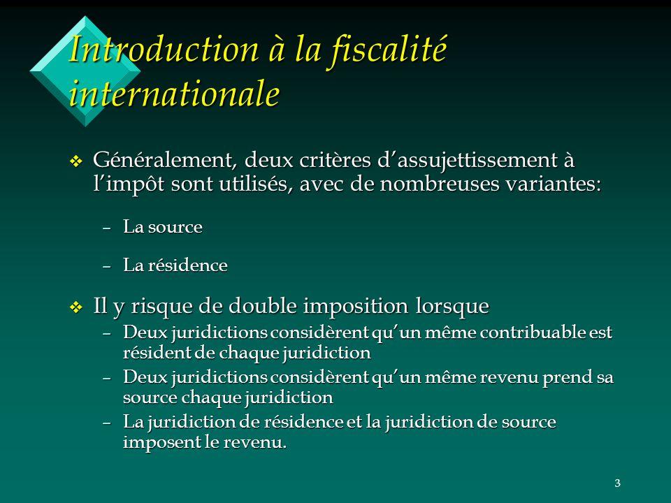 Cours 1 Introduction A La Fiscalite Internationale Entites De