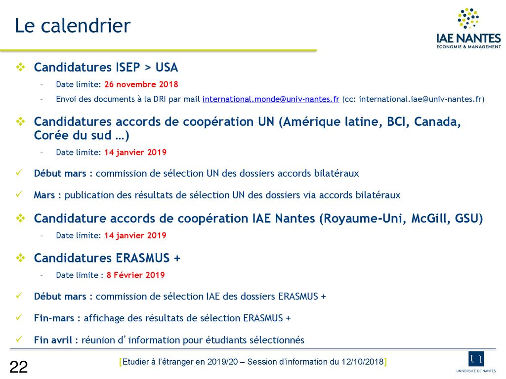 Calendrier Univ Nantes.Etudier A L Etranger En 2019 20 Economie Management Ppt