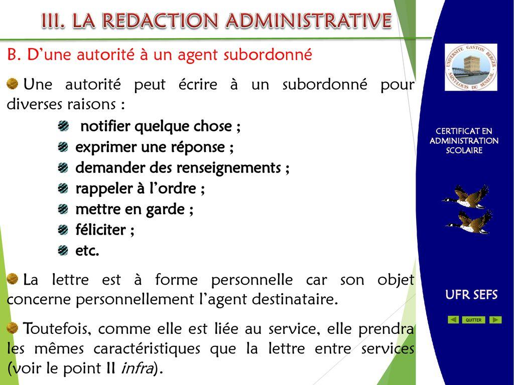 Certificat En Administration Scolaire La Redaction