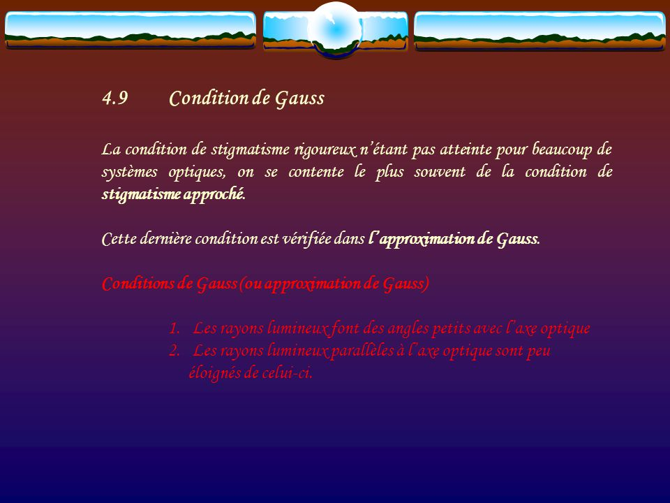 4.9 Condition de Gauss