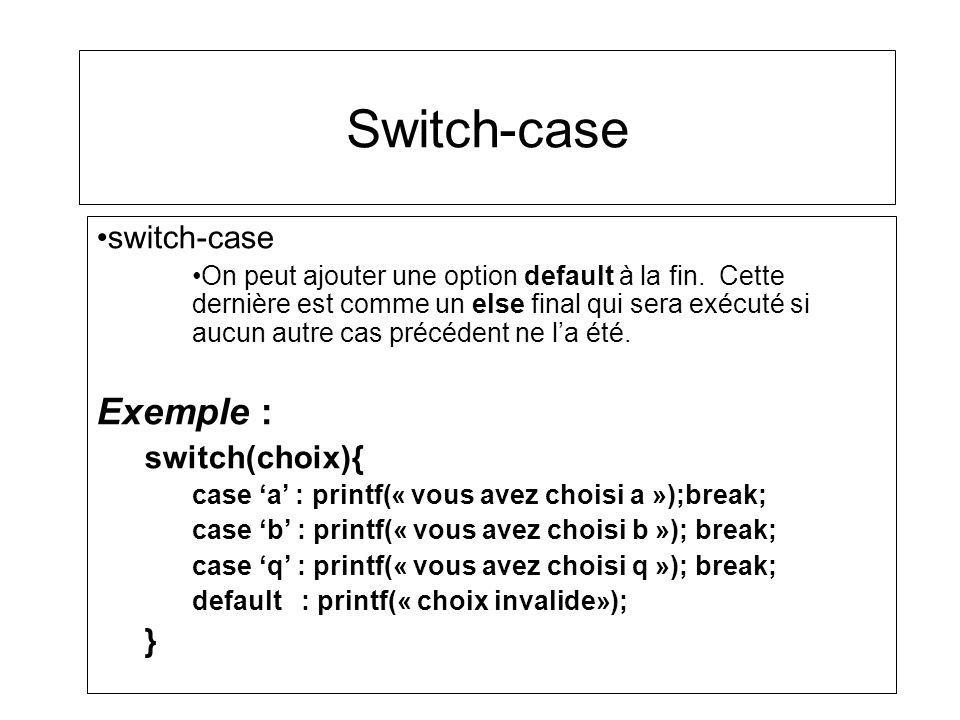Switch-case Exemple : switch-case switch(choix){ }