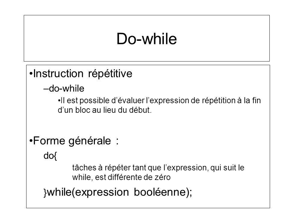 Do-while Instruction répétitive Forme générale : do-while do{