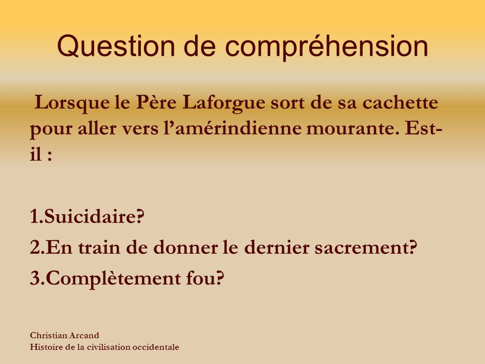 Question de compréhension