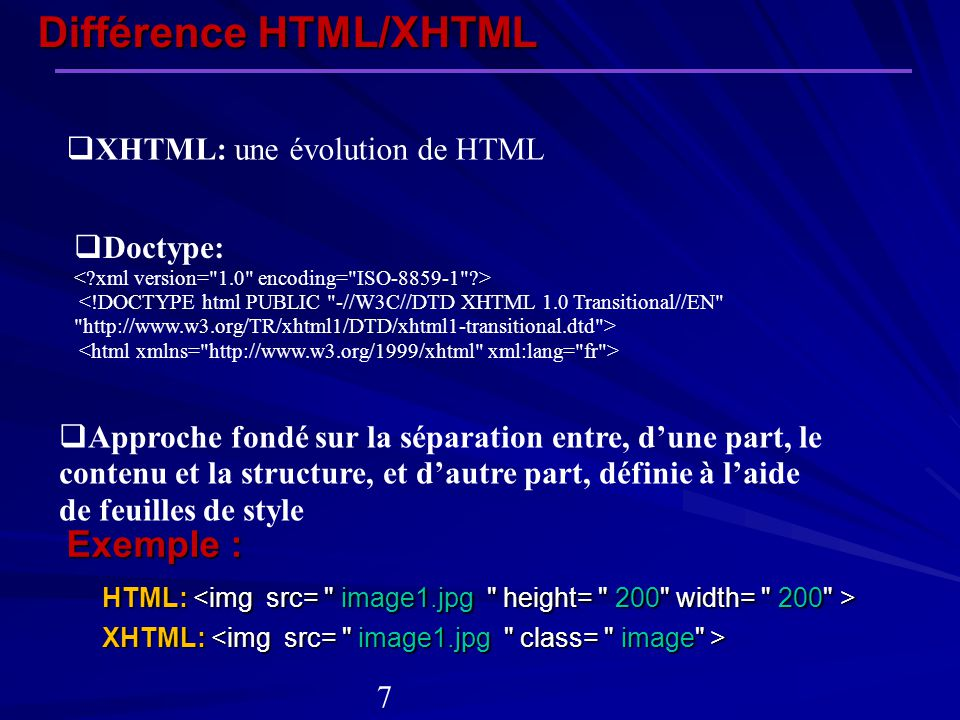 Différence HTML/XHTML