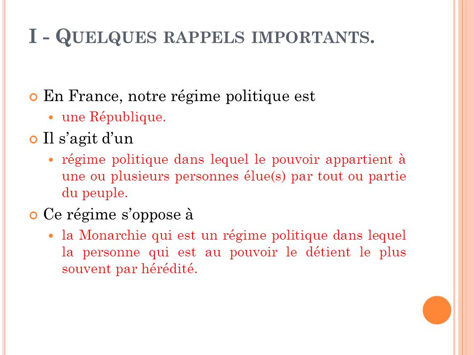 I - Quelques rappels importants.