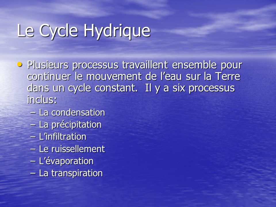 Le Cycle Hydrique