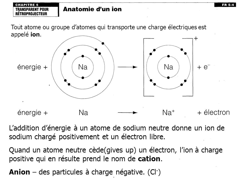 Anion – des particules à charge négative. (Cl-)
