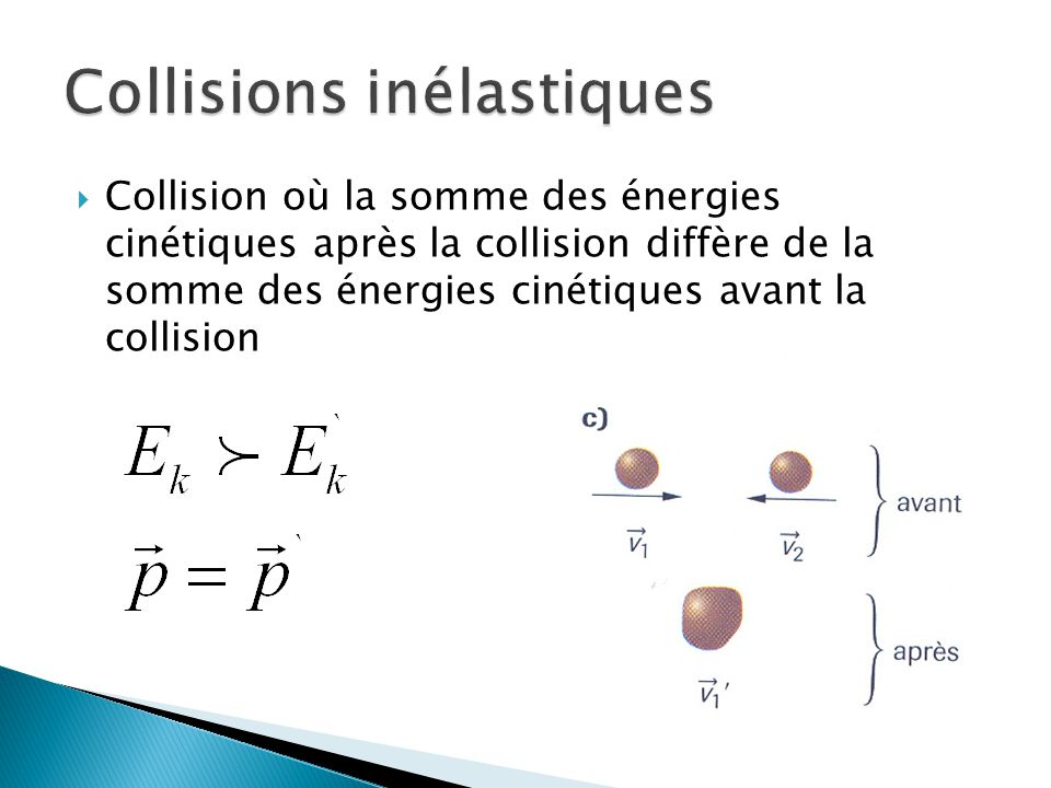 Collisions inélastiques