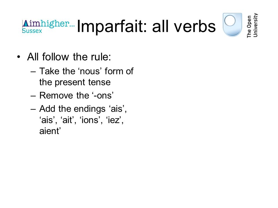 Imparfait: all verbs All follow the rule: