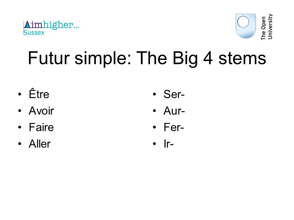 Futur simple: The Big 4 stems
