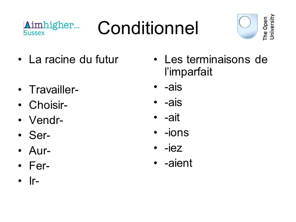 Conditionnel La racine du futur Travailler- Choisir- Vendr- Ser- Aur-