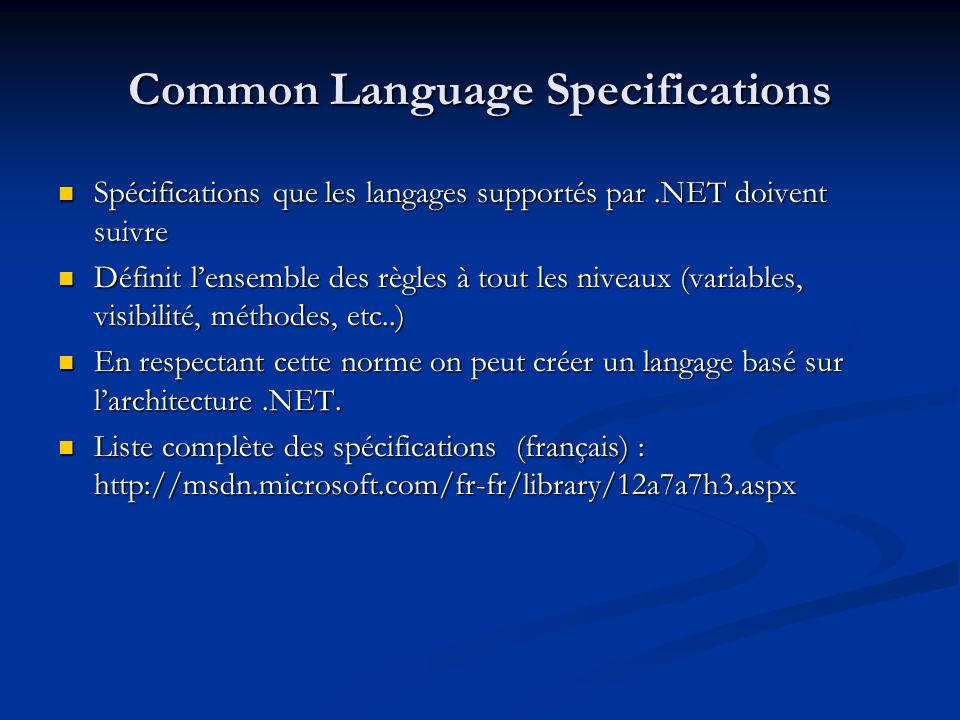 Common Language Specifications