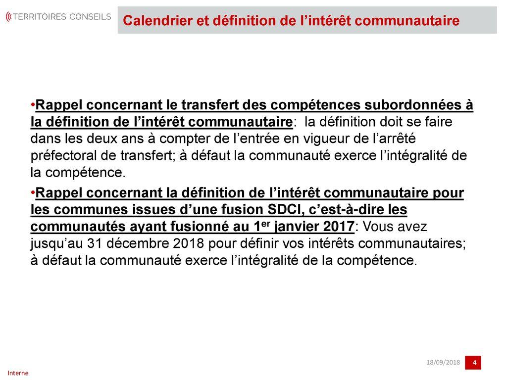 Calendrier Definition.La Definition De L Interet Communautaire A L Epreuve Du