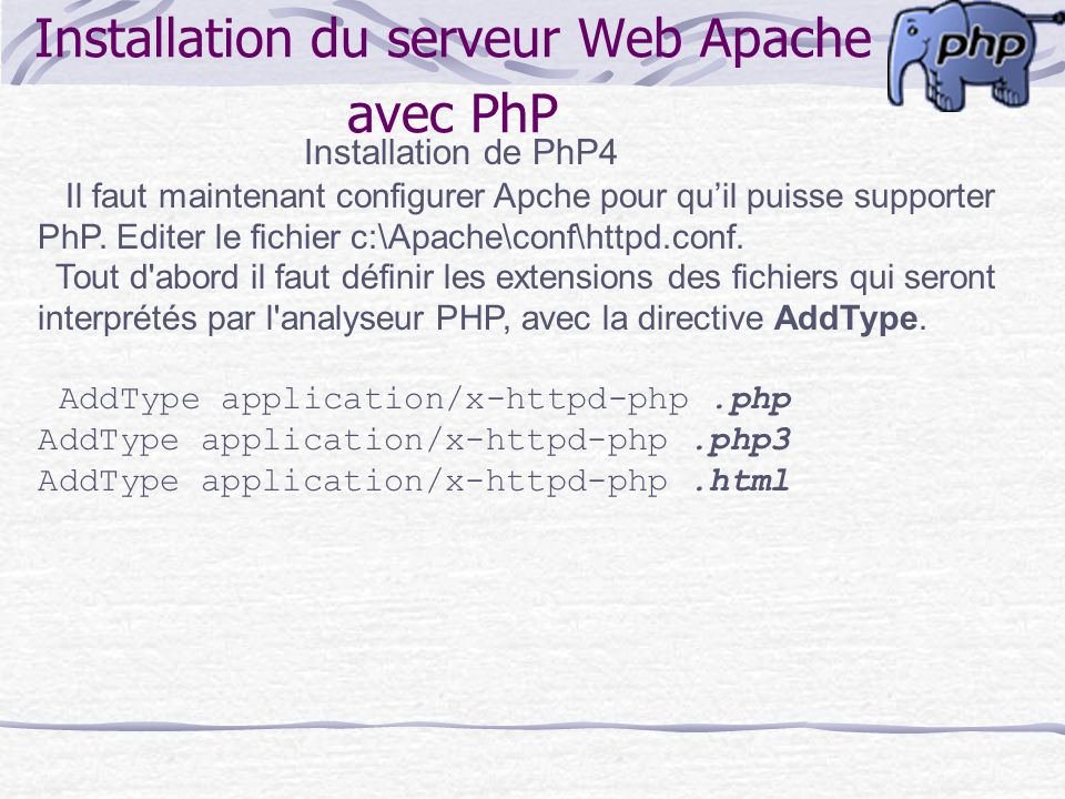 addtype apache php installer