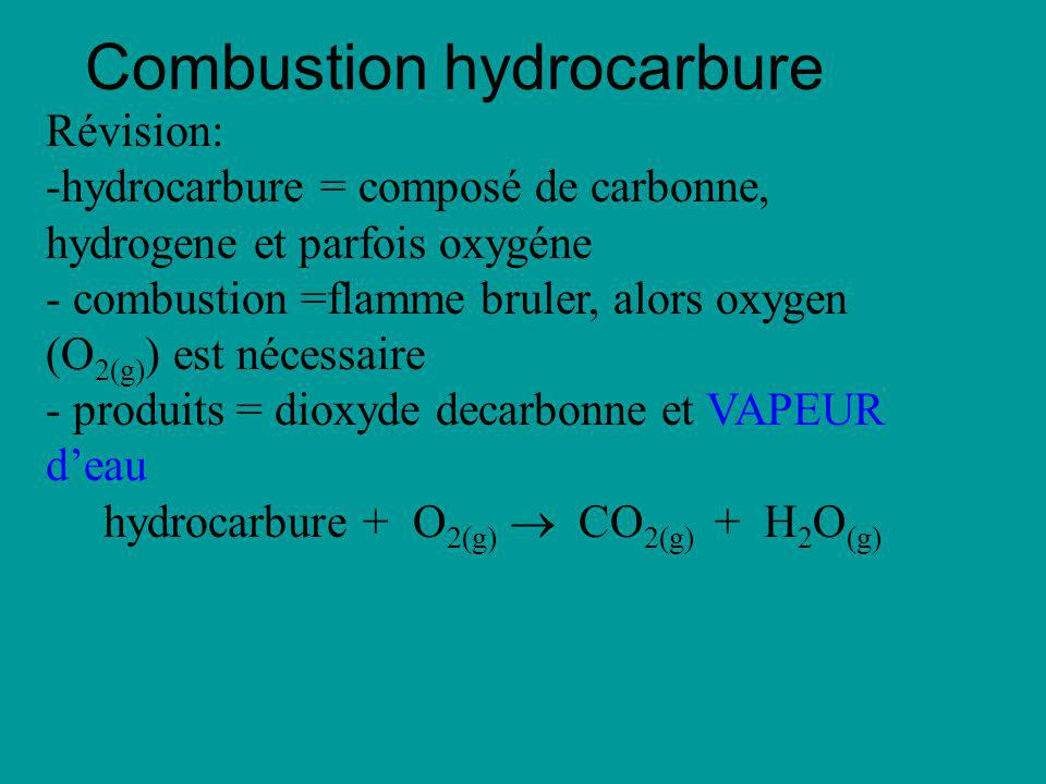 Combustion hydrocarbure