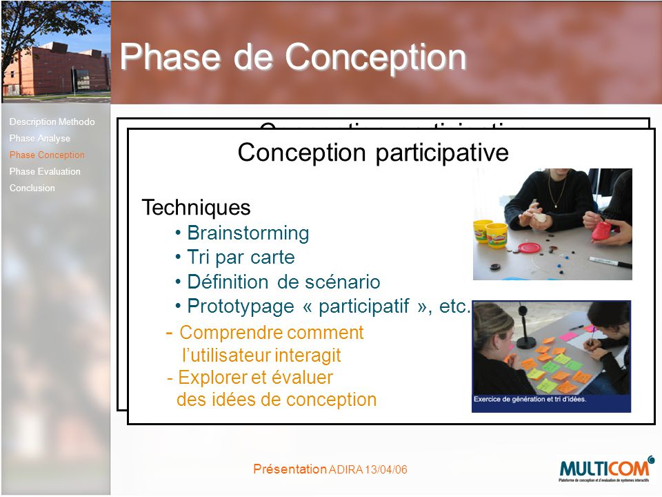 Phase de Conception Conception participative Conception participative