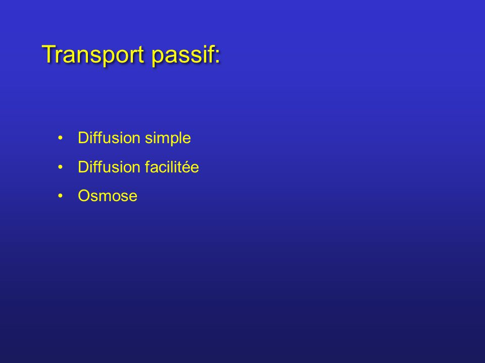 Transport passif: Diffusion simple Diffusion facilitée Osmose