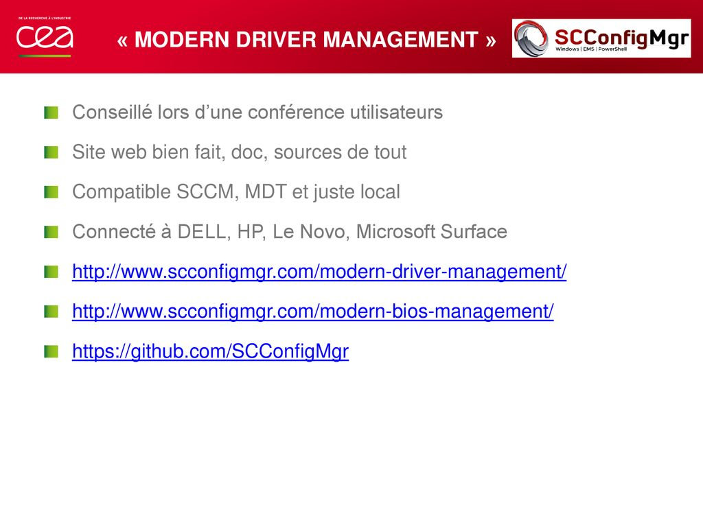 Modern Drivers/BIOS Management Joël Surget Octobre ppt