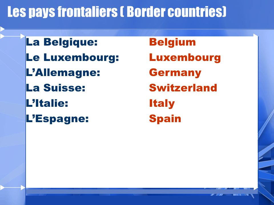 Les pays frontaliers ( Border countries)