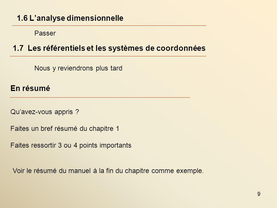 1.6 L'analyse dimensionnelle