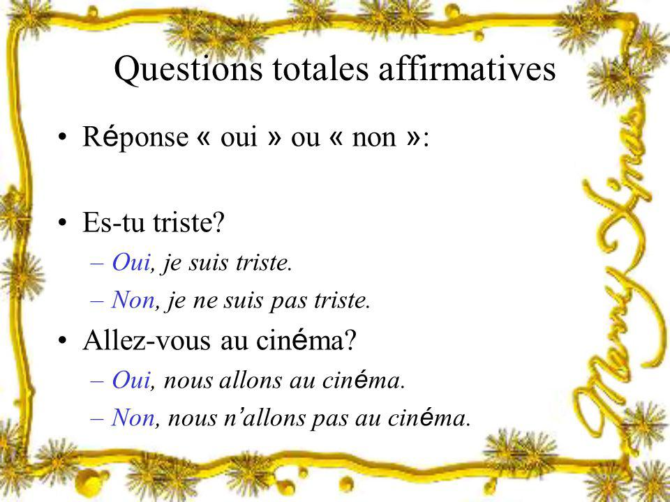 Questions totales affirmatives