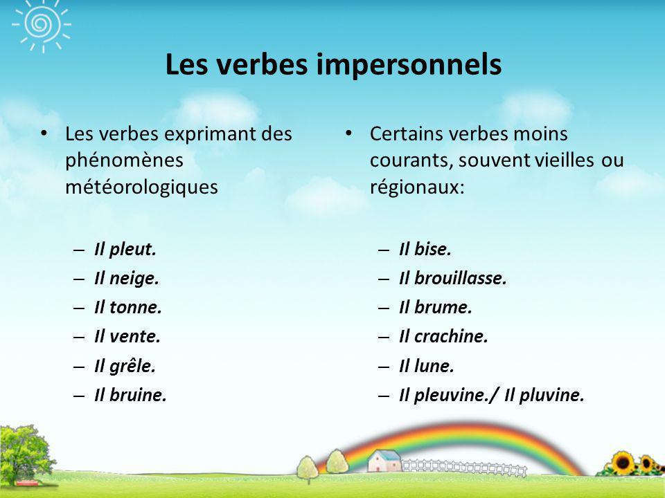 Czasowniki bezosobowe - słownictwo 1 - Francuski przy kawie