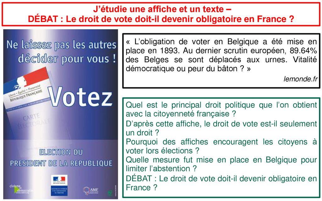 Qui suis-je Je suis Français J'ai des devoirs Je vote J'ai