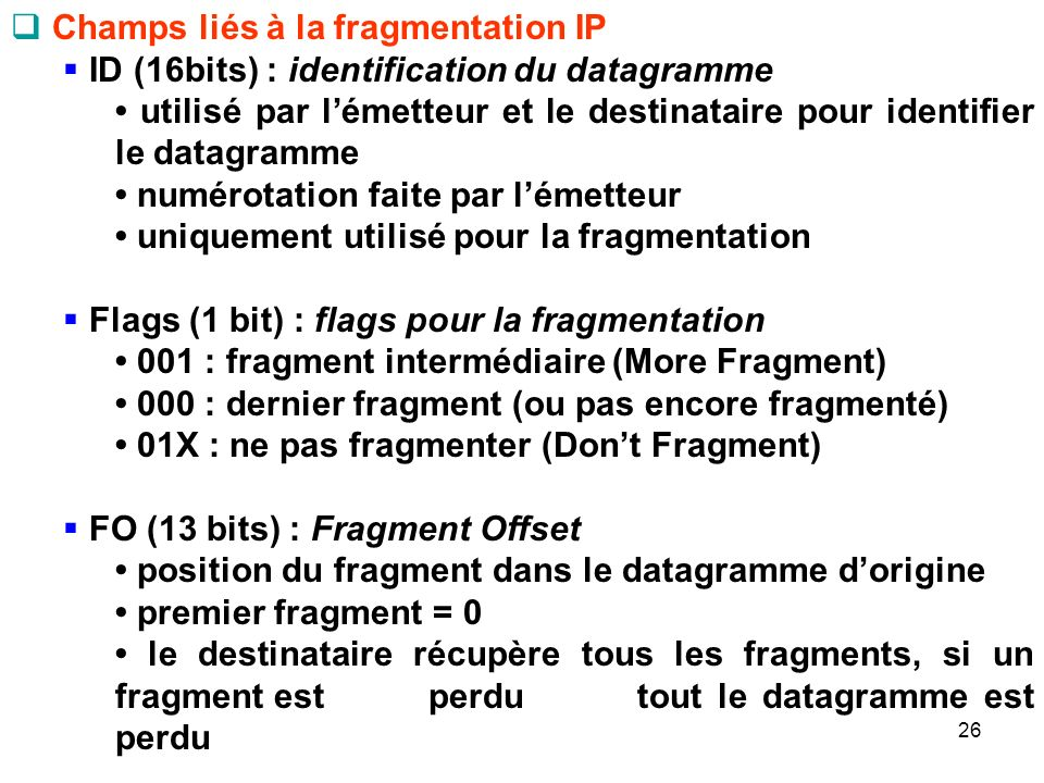 Champs liés à la fragmentation IP