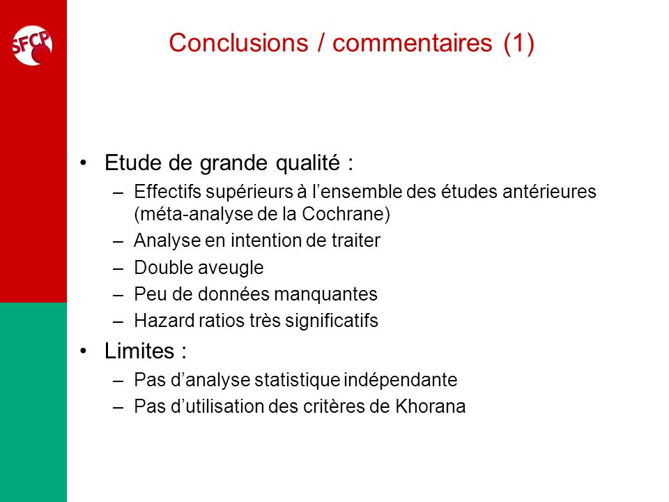 Conclusions / commentaires (1)