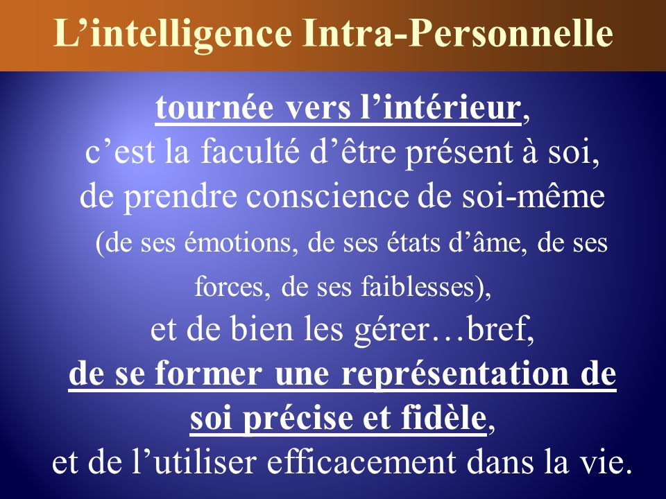 L'intelligence Intra-Personnelle