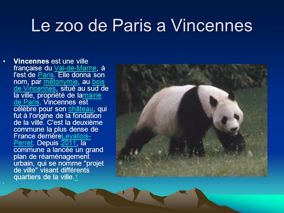 Le zoo de Paris a Vincennes