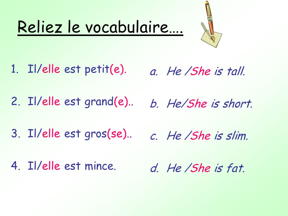 Reliez le vocabulaire….