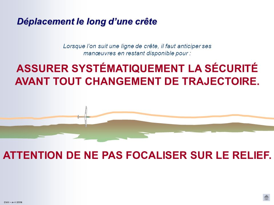 ATTENTION DE NE PAS FOCALISER SUR LE RELIEF.