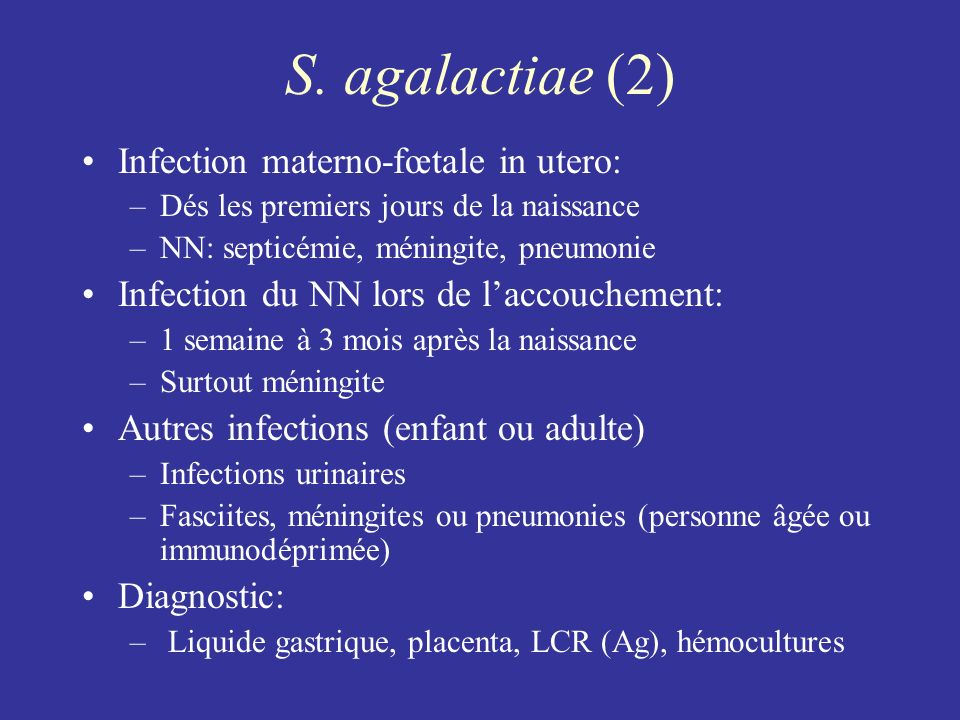 S. agalactiae (2) Infection materno-fœtale in utero: