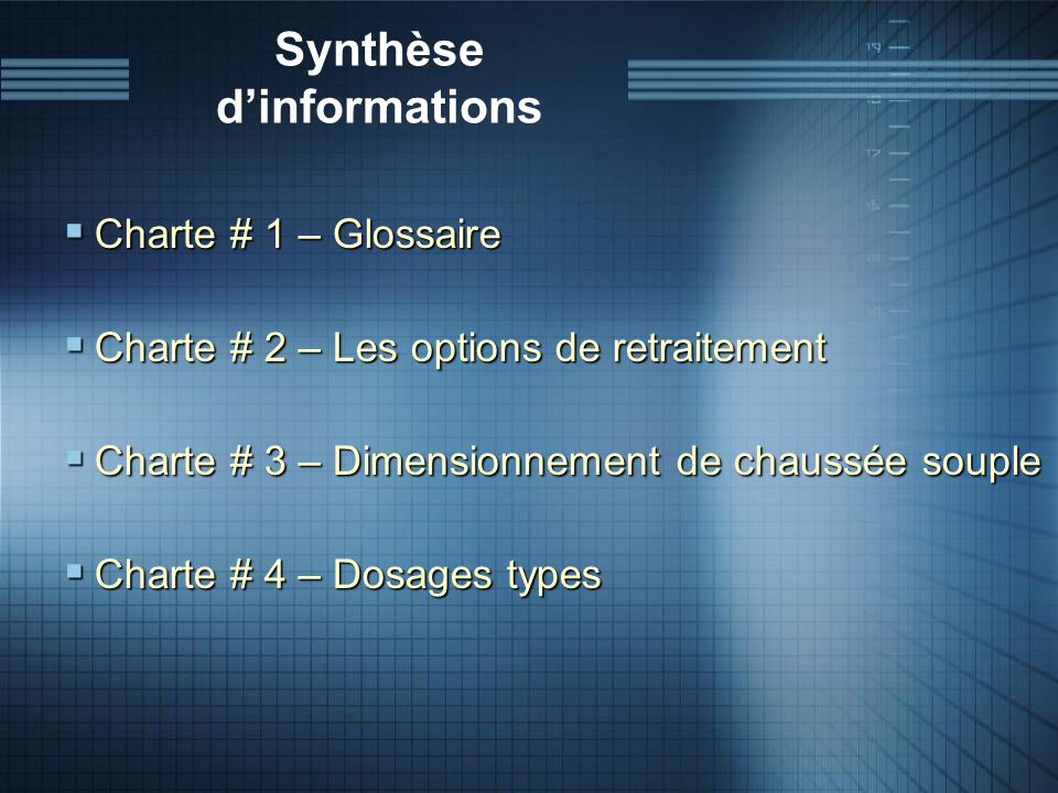 Synthèse d'informations