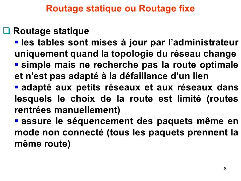 Routage statique ou Routage fixe
