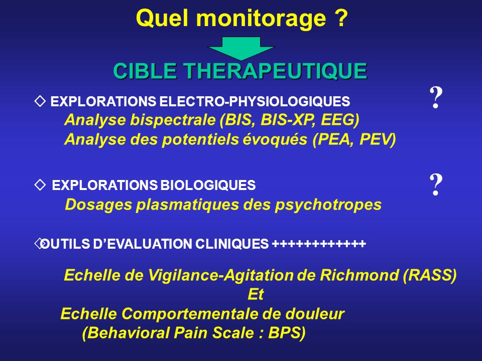 Quel monitorage CIBLE THERAPEUTIQUE