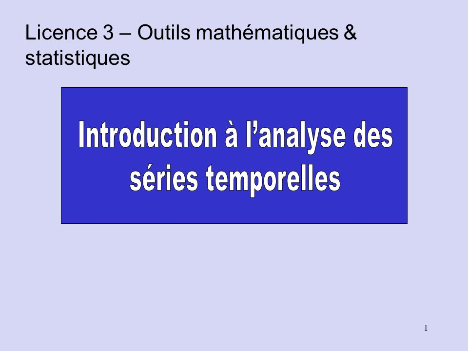Introduction à l'analyse des
