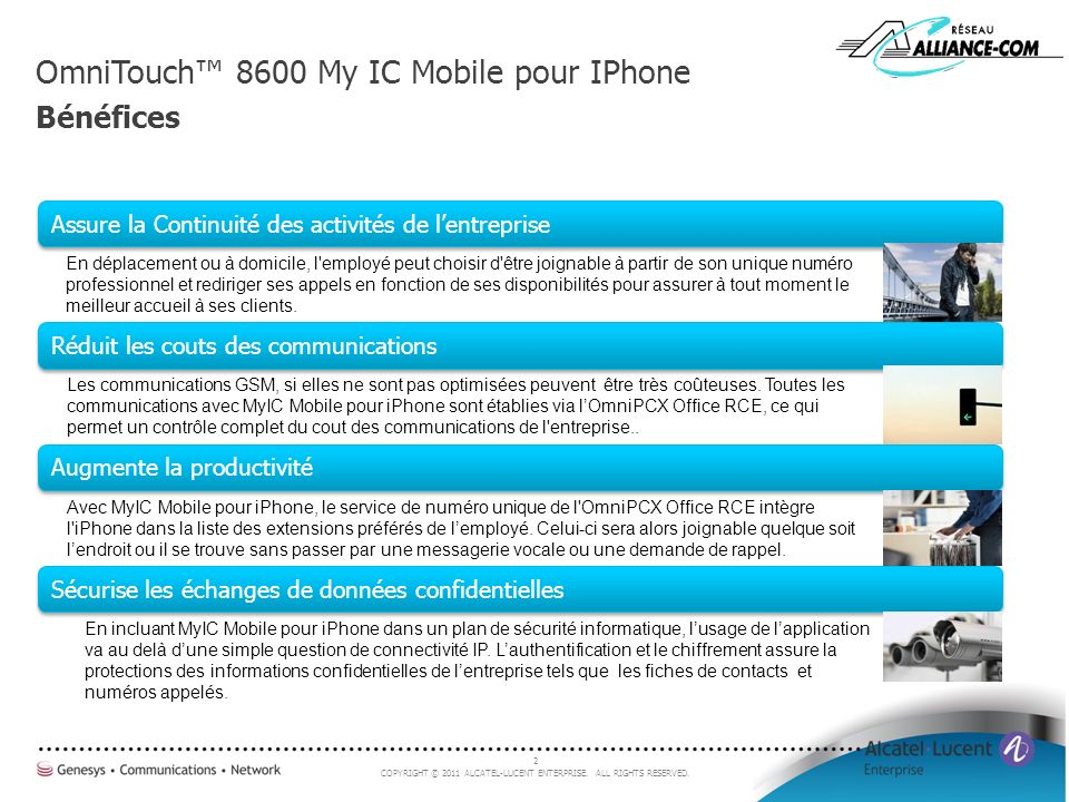 OmniTouch™ 8600 My IC Mobile pour IPhone Bénéfices