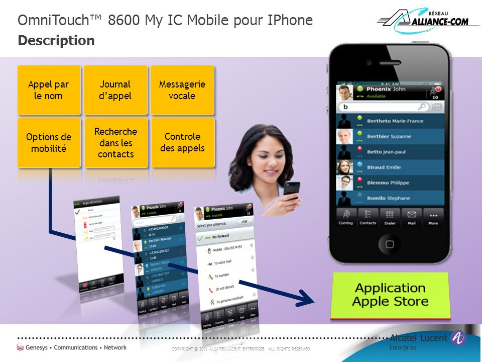 OmniTouch™ 8600 My IC Mobile pour IPhone Description
