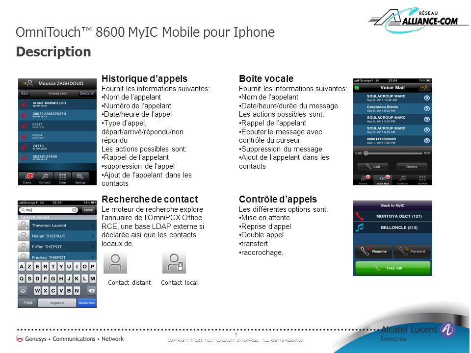 OmniTouch™ 8600 MyIC Mobile pour Iphone Description