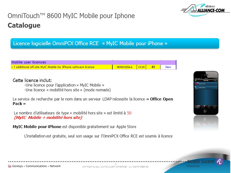 OmniTouch™ 8600 MyIC Mobile pour Iphone Catalogue